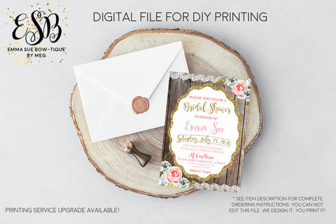 Bridal Shower Lace and gold Wooden Background Spring Flowers Rustic Invitation - Digital File Printable (bridal-Lacewood)
