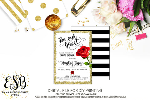 Be Our Guest Bridal Shower Invitation Printable Digital File