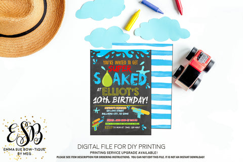 Super Soaked Water Gun Water Balloon Birthday Party invitation Printable - Digital File  (water-party01)
