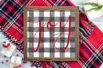 Joy - Black and White Buffalo Plaid Christmas Printable Sign Farmhouse Style  - Digital File