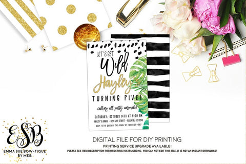 Let's get Wild - Jungle Safari Birthday Party invitation Printable - Digital File  (Jungle-WildGold)