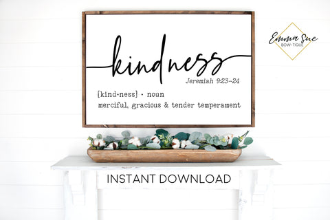 Kindness Biblical Definition - Jeremiah 9:23-24 Bible Verse Printable Sign Wall Art - Instant Download
