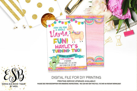 A whole Llama Fun - Girl's Birthday Party Invitation Printable - Digital File  (llama-01white)