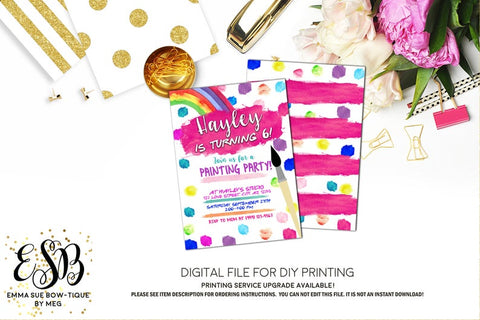 Painting Party - Girl's Art Party Birthday Invitation - Digital File Printable (Paint-watercolor)