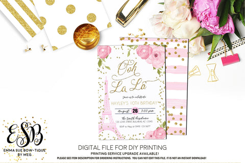 Ooh La La - Paris Eiffel Tower Birthday Party Invitation Printable - Digital File  (Paris-Pnkflowers)