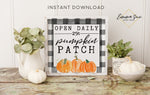 Pumpkin Patch Open Daily - Black & White Plaid Thanksgiving Fall Autumn Decor Printable Sign Farmhouse Style  - Digital File