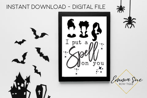 I put a Spell on you Hocus Pocus - Halloween Decoration Printable Art Sign - Digital File
