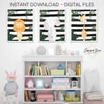 Black & White Stripe Jungle Safari Animals - Giraffe Elephant Lion - Boy's Playroom or Nursery Printable Wall Art Sign- Digital File