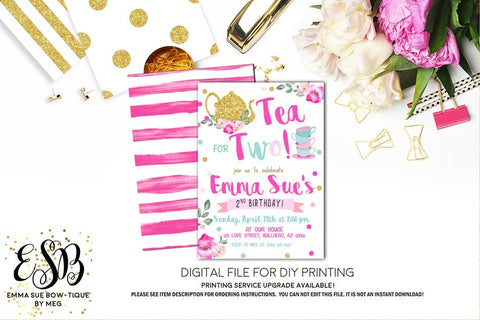 Tea Party - Tea for Two 2nd Birthday Party Invitation Printable - Digital File  (Tea-two)