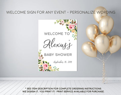 Peony Blush Floral Any Event Welcome Sign - Party Decorations  - Digital File