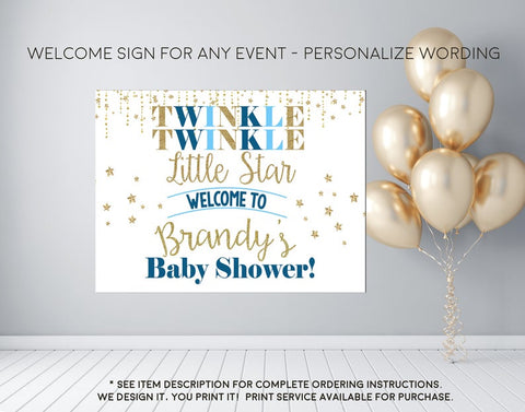 Twinkle Twinkle Little Star Baby Shower or Birthday Welcome Sign - Party Decorations  - Digital File