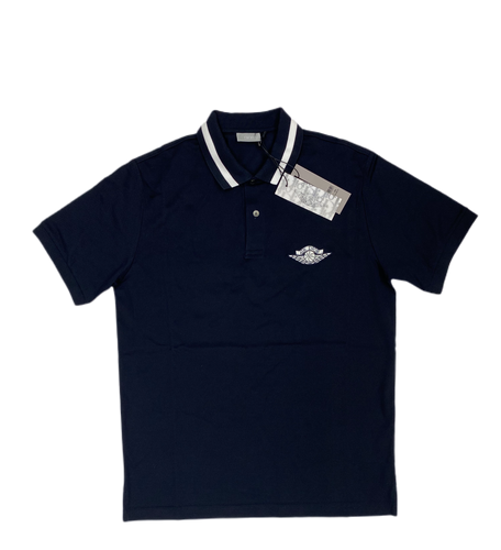 Dior x air Jordan navy blue polo - MrBreckz