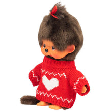 Monchhichi Girl Dressed in Red Heart Sweater Plush Toy