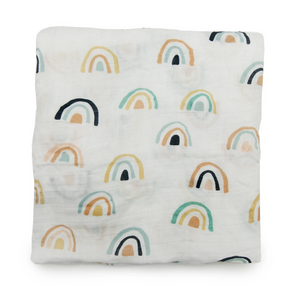 Neutral Rainbow Muslin Swaddle