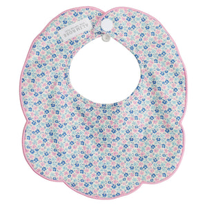 Scallop Collar Bib in Blue Pink Floral