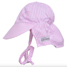 Flap Hat w/ Ties in Pink Stripe Seersucker UPF 50+
