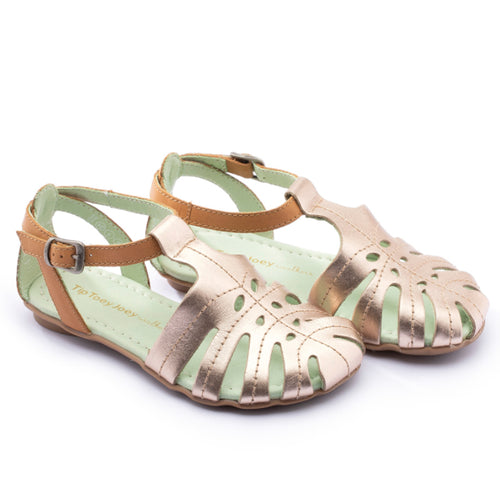 Little Tropical Sandal -Metalic Salmon/ Hay