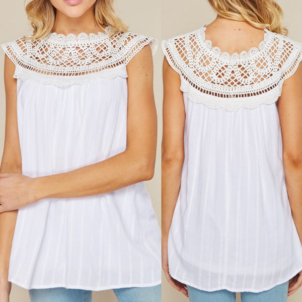 White Crochet Top