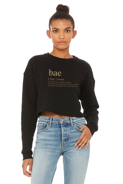 sweatshirt Bae slogan women's cropped crew fleece sweatshirt (FINAL SALE)in black - Tony by Toni