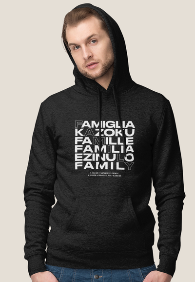 XS (Women 0-2) / Black Hoodie Family in Every Language - Unisex Hoodie - Tony by Toni