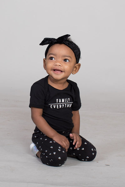 3-6M / Black Onesie Family Over Everything Infant Bodysuit - Baby Unisex (FINAL SALE) - Tony by Toni