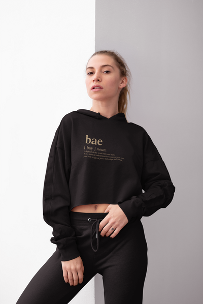 Hoodie Bae slogan women's cropped fleece hoodie in black (FINAL SALE) - Tony by Toni