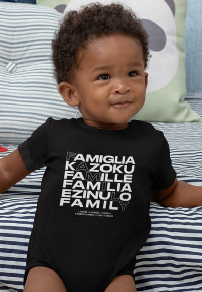 Newborn / Black Onesie Family in Every Language Infant Bodysuit - Baby Unisex - Tony by Toni