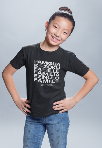 12-18M / Black T-shirt Family in Every Language - Matching Family Tshirt (Kids) - Tony by Toni