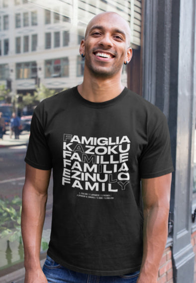 XS (Women 0-2) / Black T-shirt Family in Every Language - Unisex T-shirt - Tony by Toni