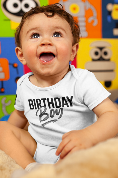 Newborn / White Onesie It's Your Birthday Boy infant bodysuit - Tony by Toni