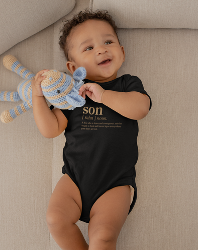 Newborn / Black Onesie Son slogan infant bodysuit- gold edition - Tony by Toni