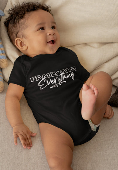 Newborn / Black Onesie Family Over Everything 2.0 Infant Bodysuit - Baby Unisex - Tony by Toni