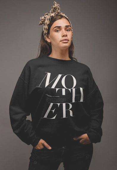 XS (0-2) / Black sweatshirt Mother Logo Remix - Matching family sweatshirt - Tony by Toni