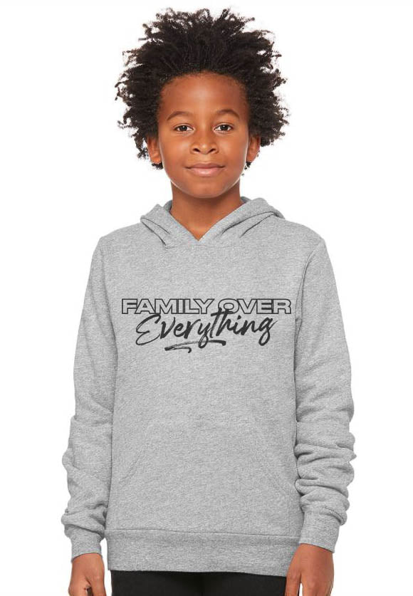 Youth S (6-8) / Athletic Gray Hoodie Family over Everything 2.0 - Youth Sponge Hoodie Unisex - Tony by Toni