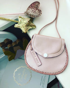 "Personalised ""dusty pink"" leather bags (with white stud)"