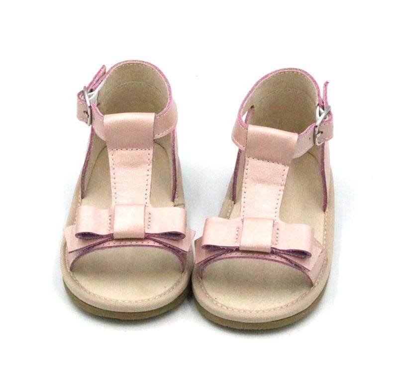 Leather bow sandals - dusty pink
