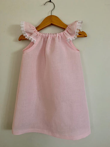 Fairy floss pink cotton/linen dress