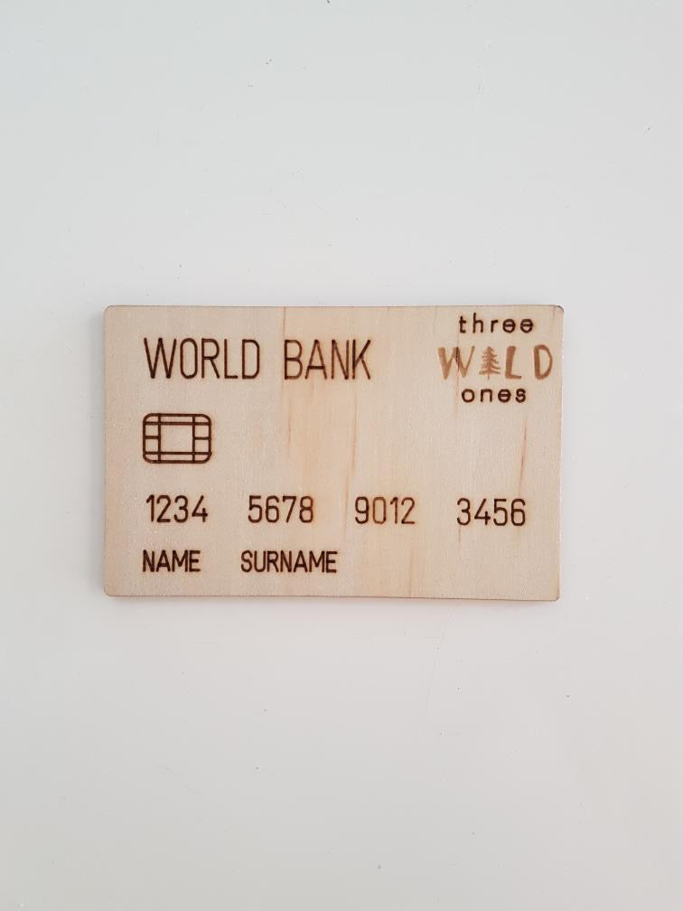 Wooden toy money card