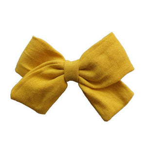Linen bow hair clips