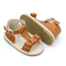 Load image into Gallery viewer, Leather bow sandals - Autumn tan
