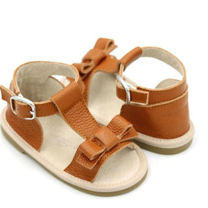 Leather bow sandals - Autumn tan