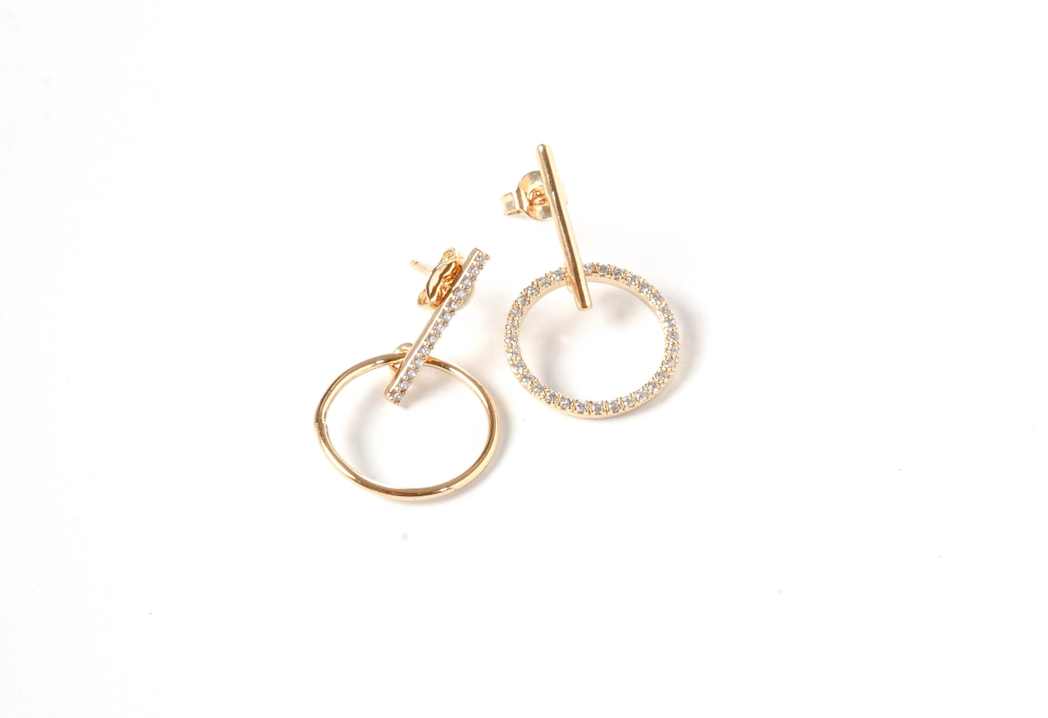 Delicate Circle Charm Earrings in Gold