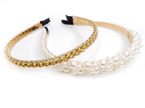 Gold Chain and Pearl Cluster Headband Set