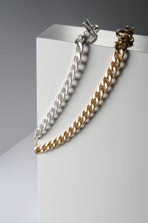 Matte Silver and Gold Chain Choker