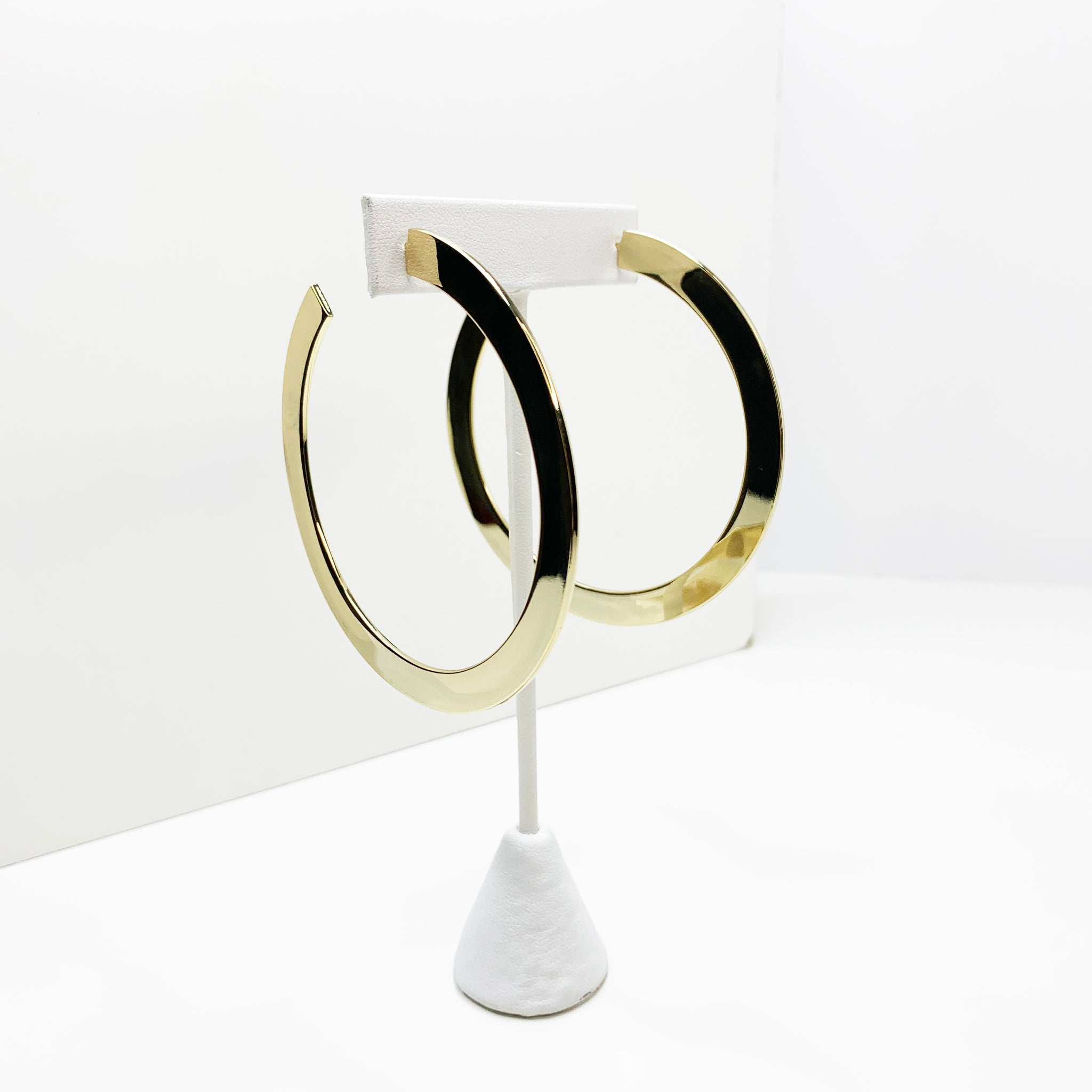 Flat gold hoop earrings