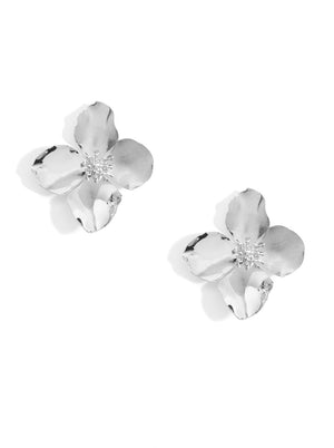 Metal Camellia Earrings