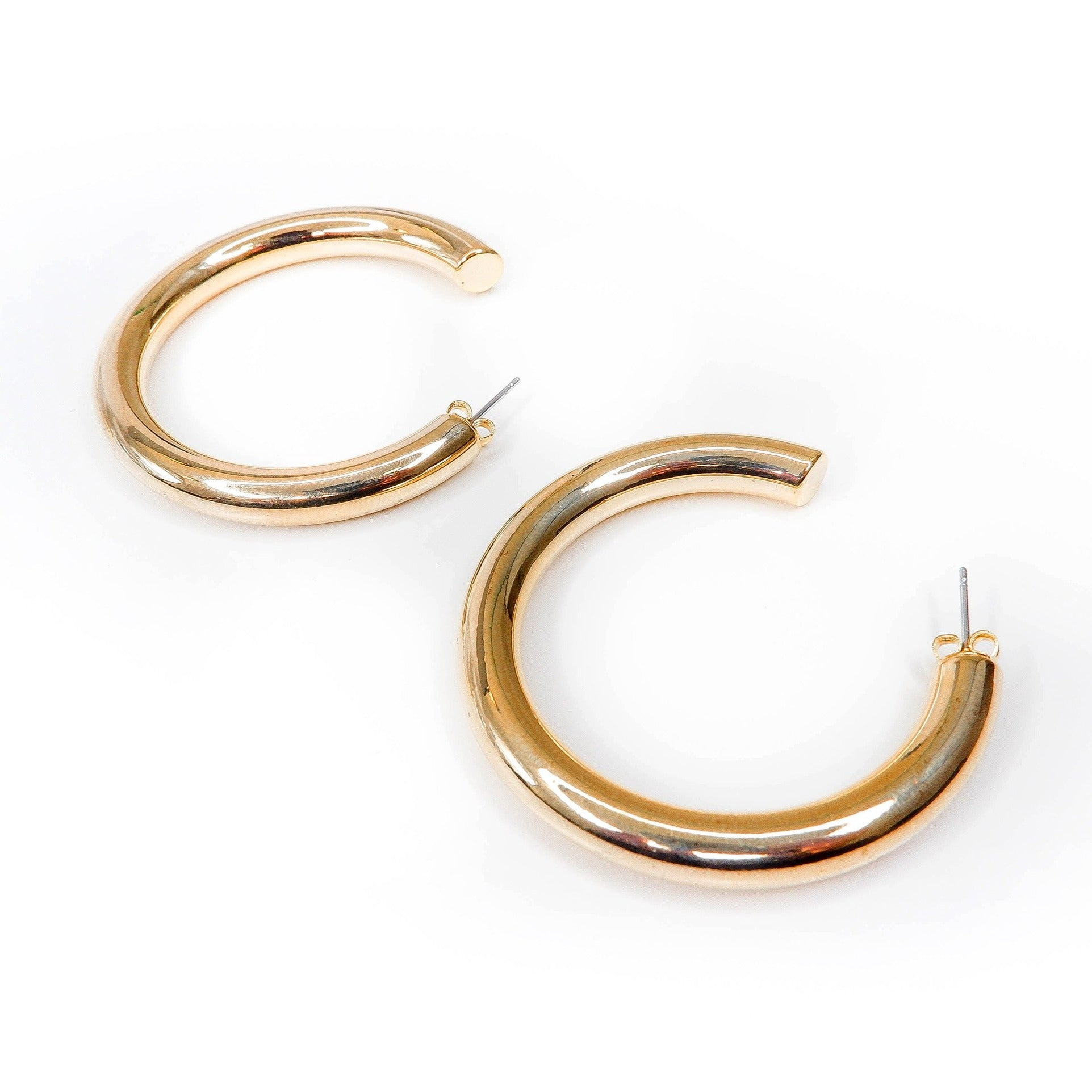 Thick 14k gold plated hoops
