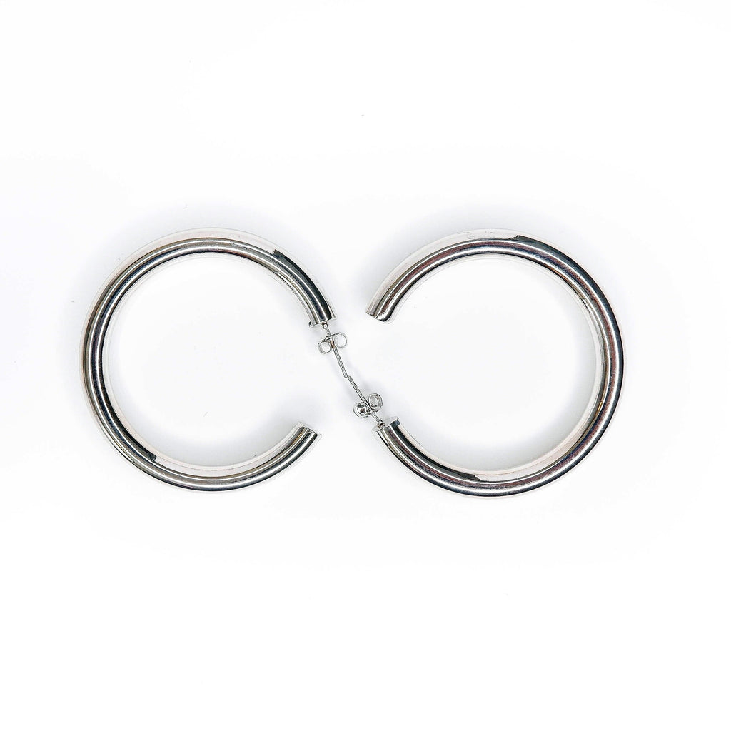 Thick 24k white gold plated hoops