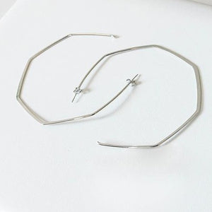 Oversized Silver Geometric Hoop Earrings