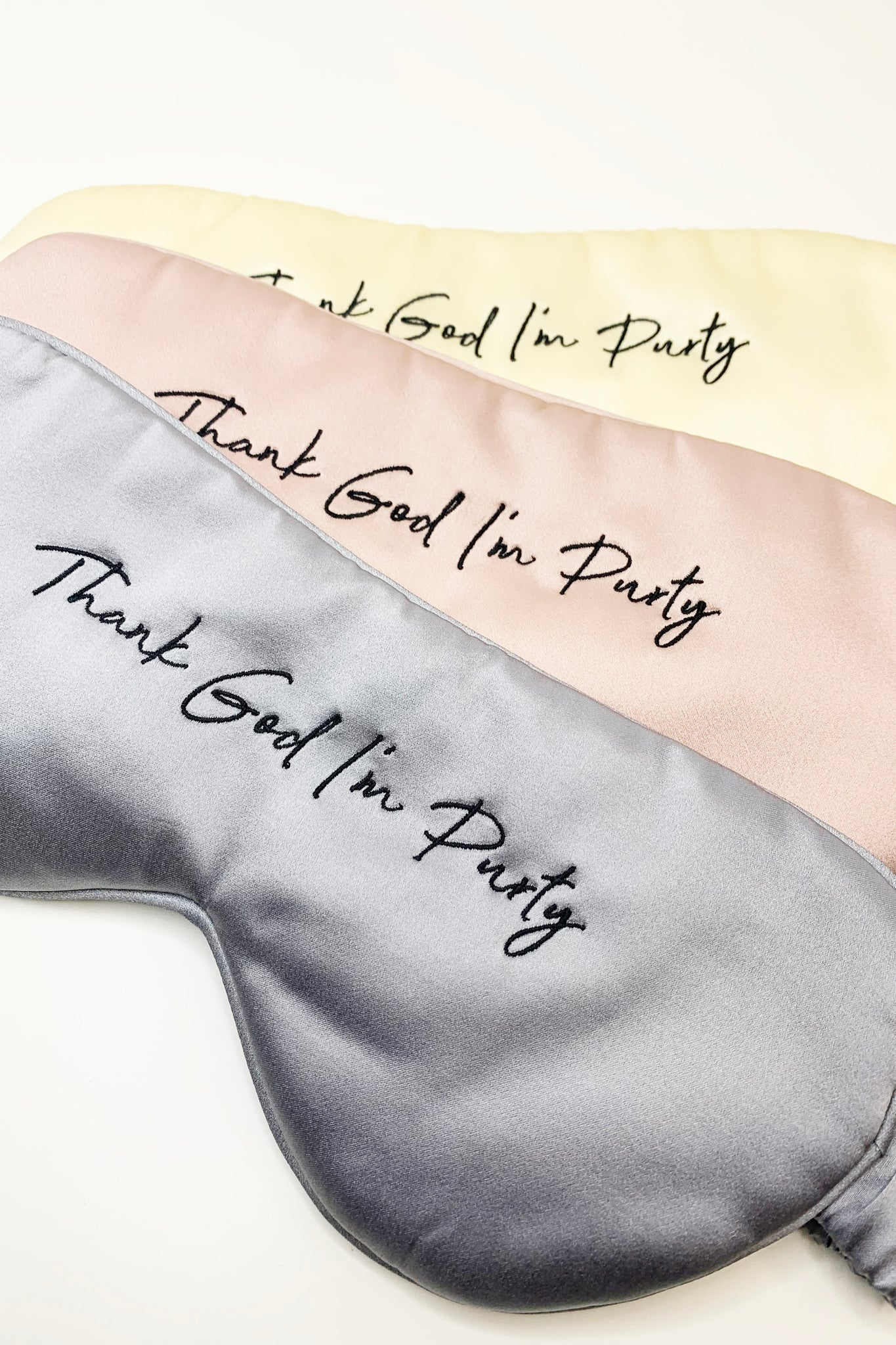 Thank God I'm Purty Silk Sleep Mask in Mink , Buttercream and Dusty Rose